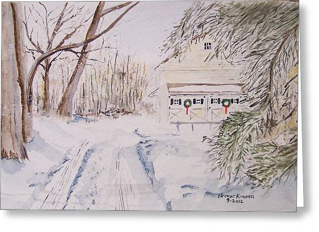 Recently Sold -  - Snow Scene Landscape Greeting Cards - View Down The Driveway Greeting Card by Peter Kundra