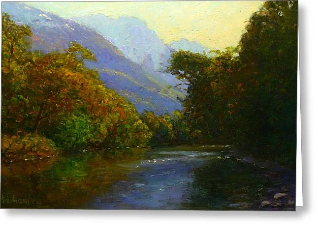 Terry Perham Paintings Greeting Cards - View Downstream Lower Holyford Greeting Card by Terry Perham
