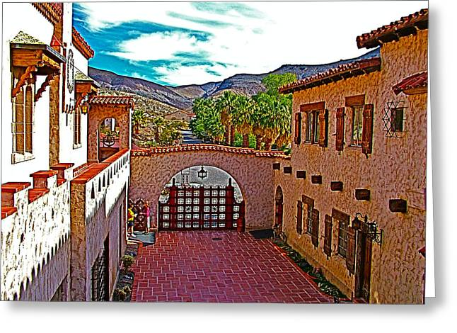 Castle In Valley Greeting Cards - View East from Scottys Castle in Death Valley National Park-California  Greeting Card by Ruth Hager