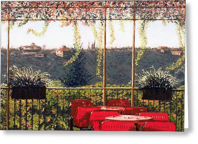 Florence Pastels Greeting Cards - View from a Cafe near Florence Greeting Card by Sue Lewis