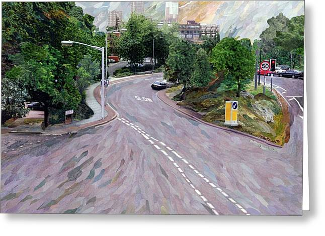 Traffic Greeting Cards - View From A Flyover Paper Mosaic Collage Greeting Card by Ellen Golla