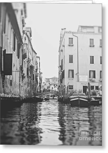 Row Boat Greeting Cards - View from a gondola in Venice Italy Greeting Card by Ivy Ho