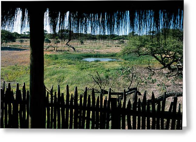 Thatch Greeting Cards - View From A Hut, Waterhole, Onguma Bush Greeting Card by Panoramic Images