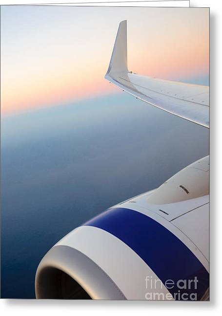 Airoplane Greeting Cards - View from a plane - beautiful sunset over the Pacific Ocean Greeting Card by David Hill