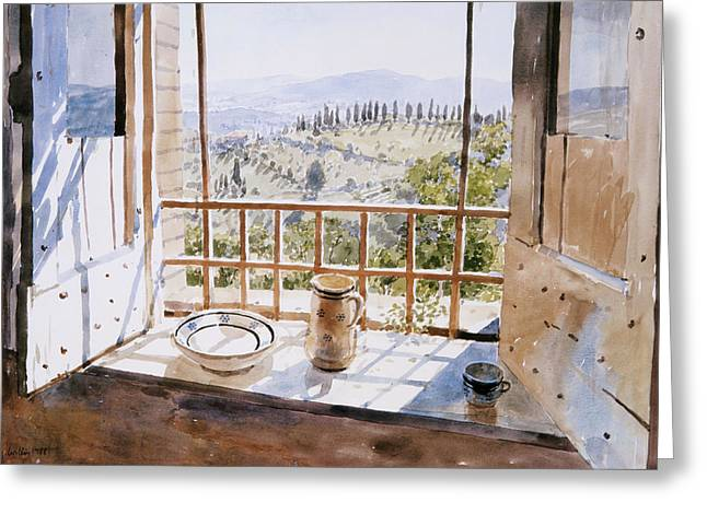 Hotel Window Greeting Cards - View From A Window, 1988 Wc On Paper Greeting Card by Lucy Willis
