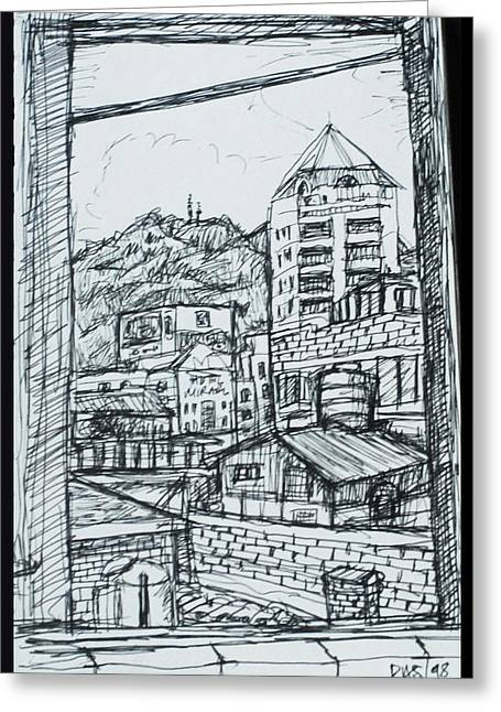 Sailing At Night Greeting Cards - View from a window in Seoul Korea  Greeting Card by Paul Sutcliffe