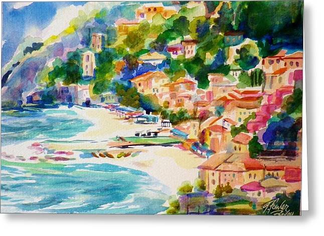 Therese Fowler-bailey Greeting Cards - View from Above at Montorossa Italy Greeting Card by Therese Fowler-Bailey