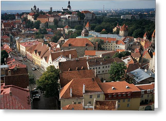 View from above of Old Town Tallinn  Estonia Greeting Card by Cliff Wassmann