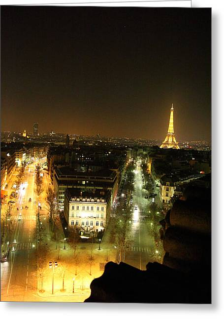 Illuminated Greeting Cards - View from Arc de Triomphe - Paris France - 011311 Greeting Card by DC Photographer
