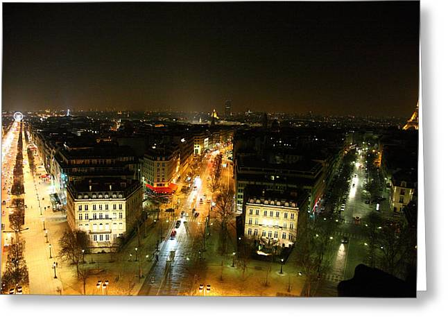 Illuminated Greeting Cards - View from Arc de Triomphe - Paris France - 011320 Greeting Card by DC Photographer