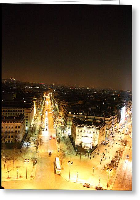 Champs Photographs Greeting Cards - View from Arc de Triomphe - Paris France - 01133 Greeting Card by DC Photographer