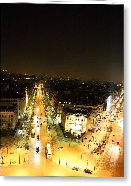 Champs Greeting Cards - View from Arc de Triomphe - Paris France - 01134 Greeting Card by DC Photographer