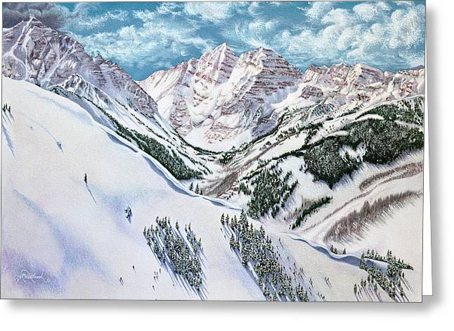 Ski Drawings Greeting Cards - View from Aspen Highlands Greeting Card by Jill Westbrook