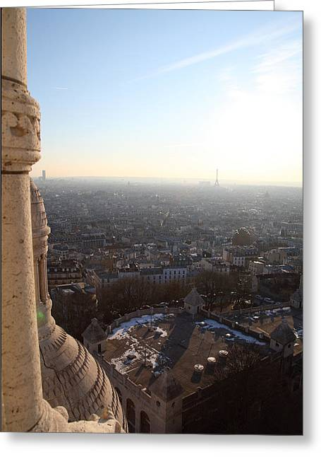 Montmartre Greeting Cards - View from Basilica of the Sacred Heart of Paris - Sacre Coeur - Paris France - 011310 Greeting Card by DC Photographer