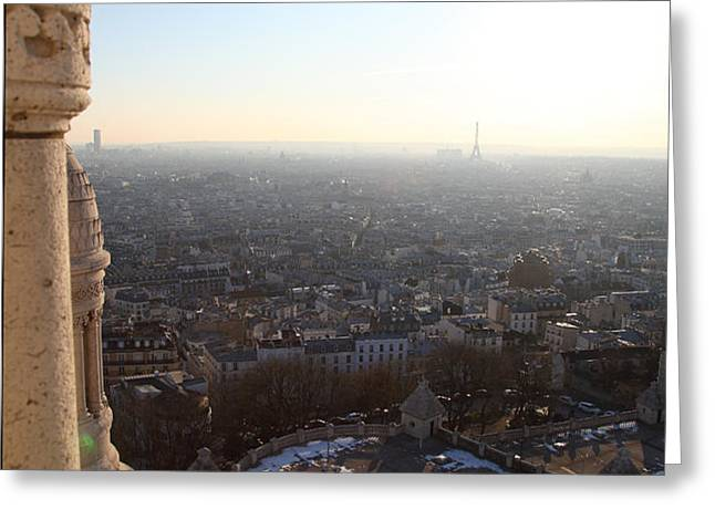 View from Basilica of the Sacred Heart of Paris - Sacre Coeur - Paris France - 011310 Greeting Card by DC Photographer