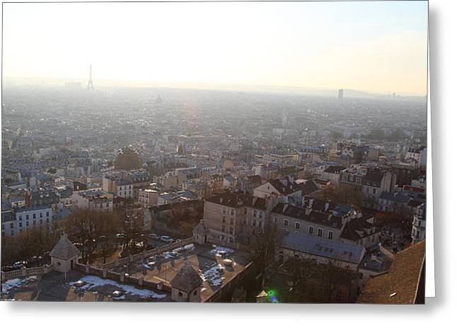 View from Basilica of the Sacred Heart of Paris - Sacre Coeur - Paris France - 011314 Greeting Card by DC Photographer