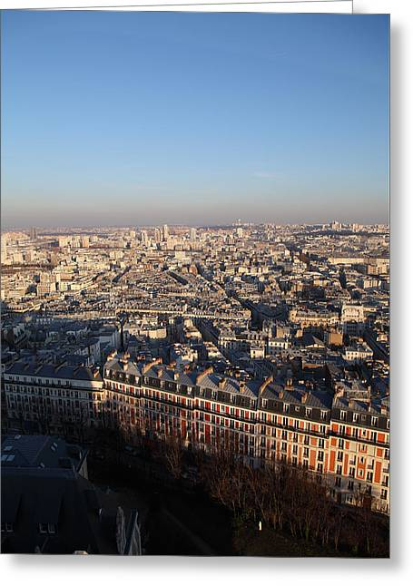 Basilica Greeting Cards - View from Basilica of the Sacred Heart of Paris - Sacre Coeur - Paris France - 011328 Greeting Card by DC Photographer