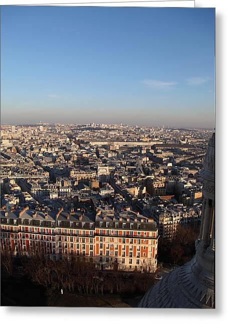 Carving Greeting Cards - View from Basilica of the Sacred Heart of Paris - Sacre Coeur - Paris France - 011330 Greeting Card by DC Photographer
