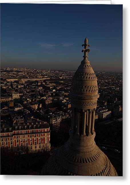 European Photographs Greeting Cards - View from Basilica of the Sacred Heart of Paris - Sacre Coeur - Paris France - 011331 Greeting Card by DC Photographer