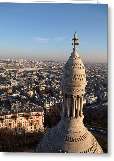 Basillica Greeting Cards - View from Basilica of the Sacred Heart of Paris - Sacre Coeur - Paris France - 011332 Greeting Card by DC Photographer
