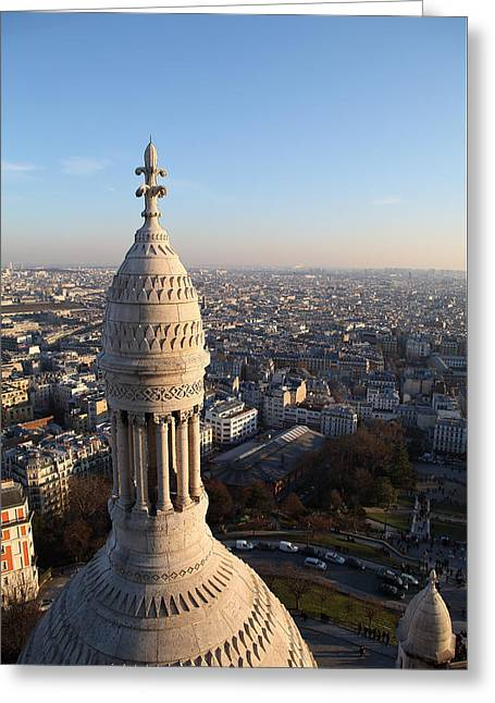 Stairs Greeting Cards - View from Basilica of the Sacred Heart of Paris - Sacre Coeur - Paris France - 011334 Greeting Card by DC Photographer