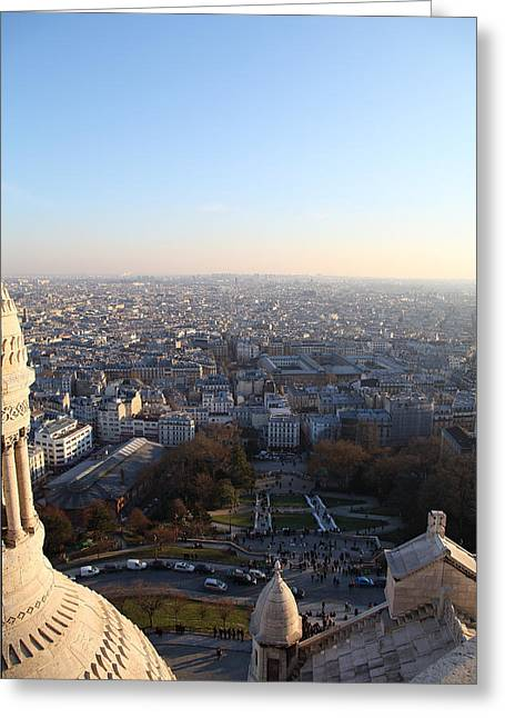 Jesus Photographs Greeting Cards - View from Basilica of the Sacred Heart of Paris - Sacre Coeur - Paris France - 011336 Greeting Card by DC Photographer