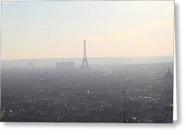 Jesus Photographs Greeting Cards - View from Basilica of the Sacred Heart of Paris - Sacre Coeur - Paris France - 01137 Greeting Card by DC Photographer