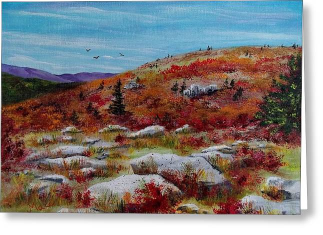 Huckleberry Paintings Greeting Cards - View from Bear Rocks Greeting Card by Joan Mace