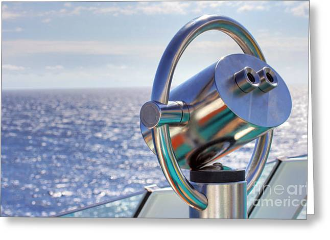 Cruise Ship Greeting Cards - View from Binoculars at Cruise Ship Greeting Card by Lars Ruecker