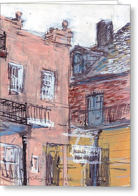 Cajun Drawings Greeting Cards - View From Cafe Du Monde Greeting Card by Edward Ching