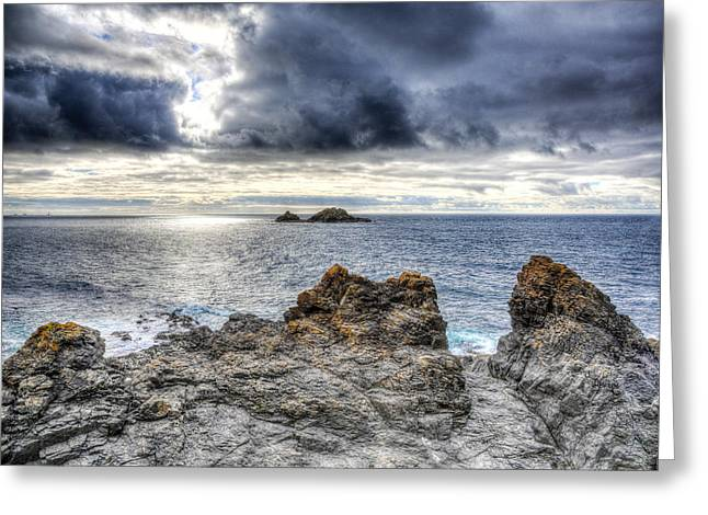 Cape Cornwall Greeting Cards - View from Cape Cornwall headland England Greeting Card by Michael Charles