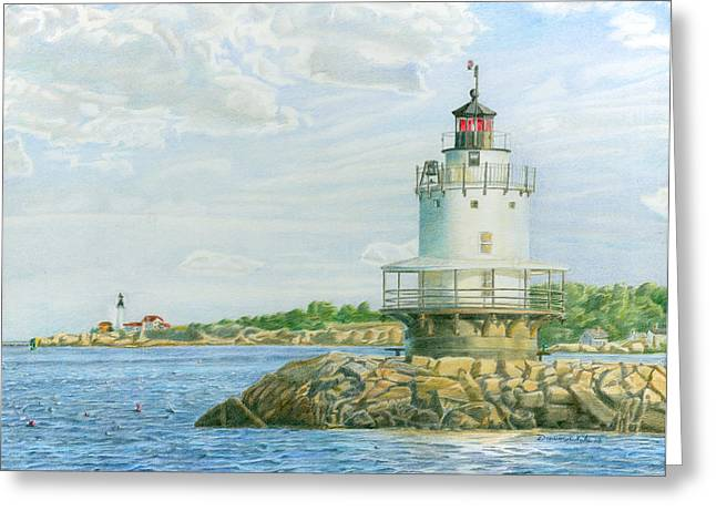 New England Lighthouse Drawings Greeting Cards - View from Casco Bay Ferry Greeting Card by Dominic White