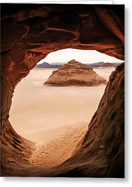 Sinai Photographs Greeting Cards - View From Cave in Sinai Desert Greeting Card by Mountain Dreams