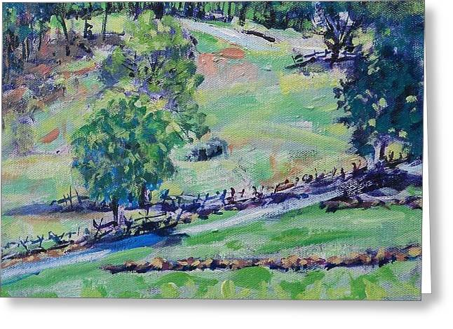 Split Drawings Greeting Cards - View From Cemetery Hill Greeting Card by Larry Lerew