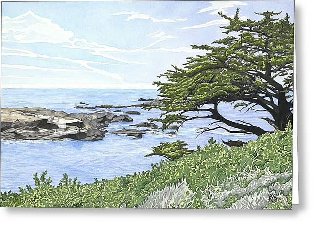 Point Lobos State Greeting Cards - View from Cypress Grove Greeting Card by Kerry Van Stockum