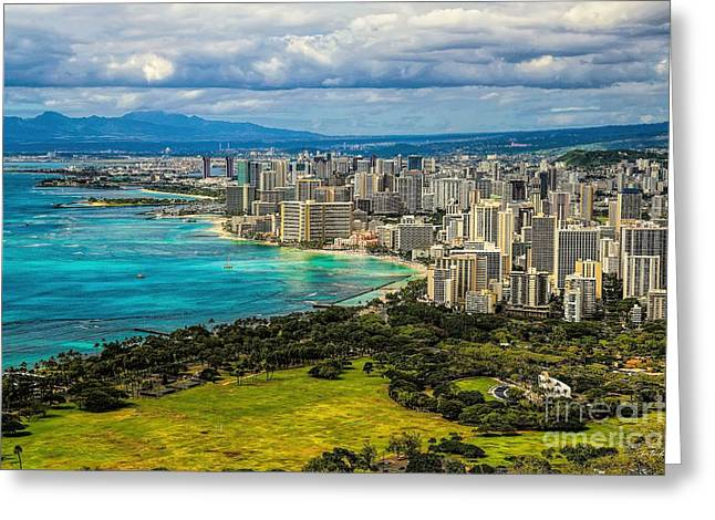 The Cost Of War Greeting Cards - View from Diamond Head Greeting Card by Jon Burch Photography