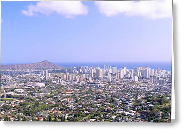 Panoramic Ocean Greeting Cards - View From Diamond Head Volcano Greeting Card by Panoramic Images