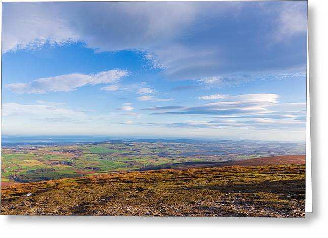Outlook Greeting Cards - View from Djouce towards Vatry Reservoir in Roundwood Greeting Card by Semmick Photo