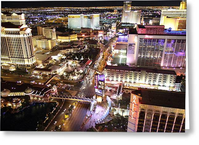 Flamingos Greeting Cards - View from Eiffel Tower in Las Vegas - 01134 Greeting Card by DC Photographer