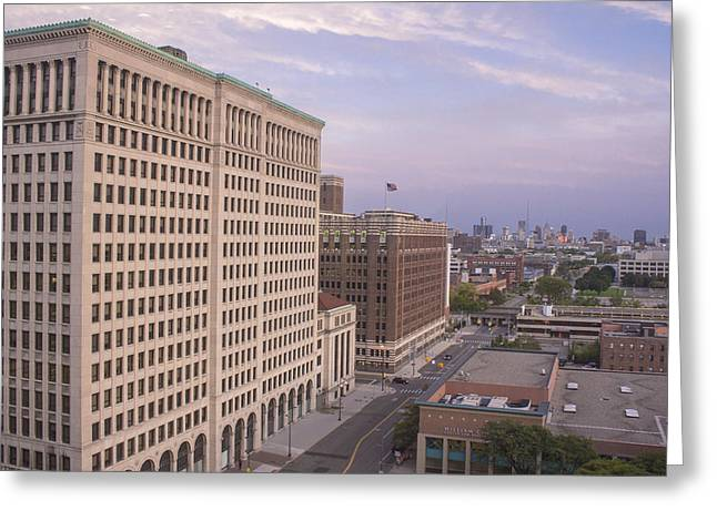 Renaissance Center Greeting Cards - View from Fisher Building  Greeting Card by John McGraw
