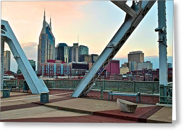 Nashville Greeting Cards - View From John Seigenthaler Pedestrian Bridge Greeting Card by Frozen in Time Fine Art Photography