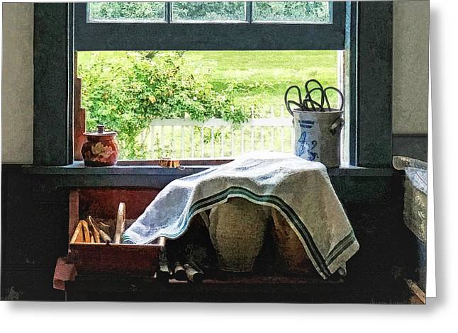Cookies Greeting Cards - View From Kitchen Window Greeting Card by Susan Savad
