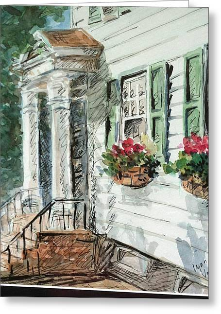 Flower In Pen And Ink Greeting Cards - View from Main street Greeting Card by Lynn Cheng-Varga
