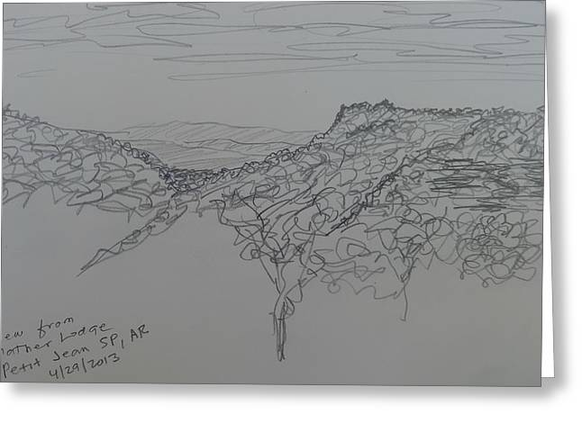 Capsule Drawings Greeting Cards - View from Mather Lodge Greeting Card by Joel Deutsch