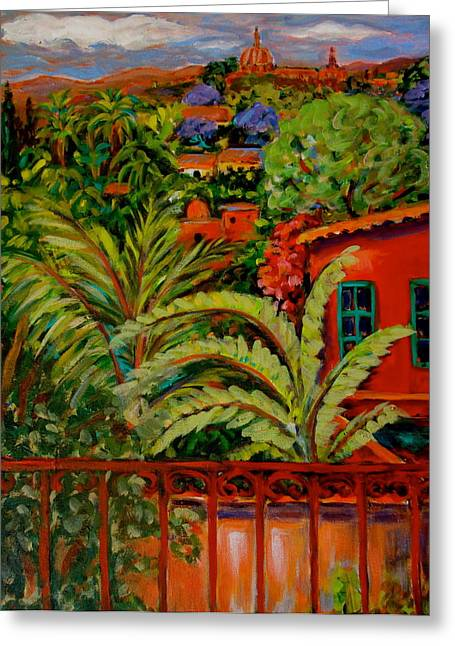 Landscape Ceramics Greeting Cards - View from Mexican Rooftop Greeting Card by Carol Keiser