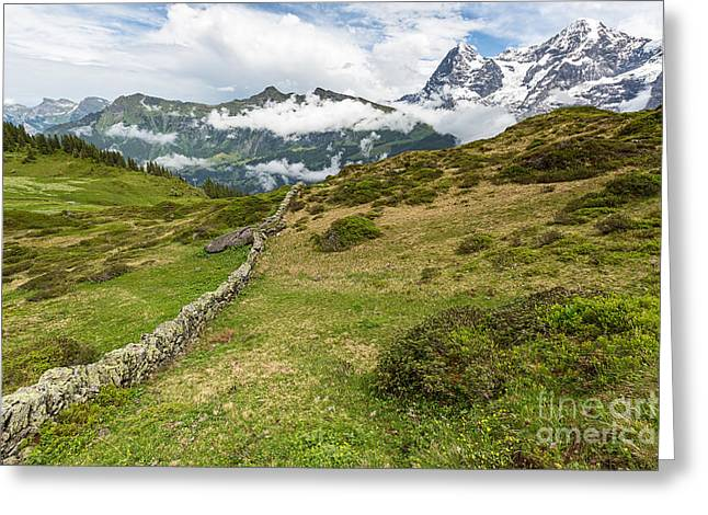 Murren Greeting Cards - View from Murren Switzerland Greeting Card by Mark Monckton