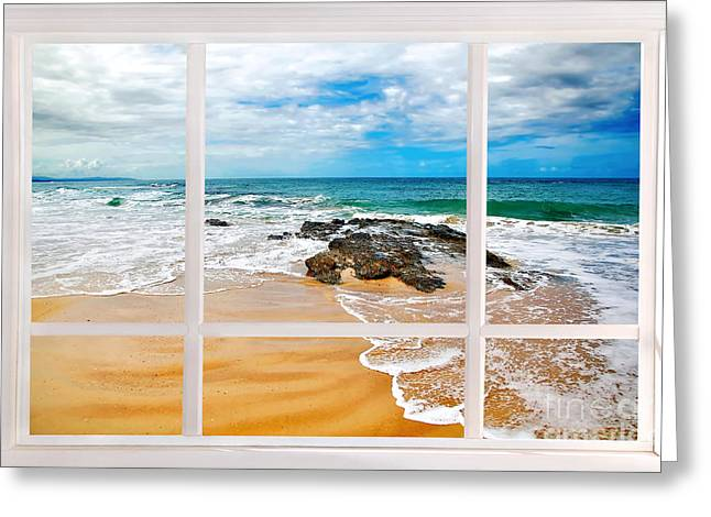 View From My Beach House Window Greeting Card by Kaye Menner