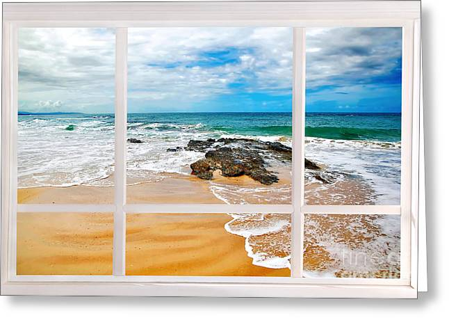 My Ocean Greeting Cards - View from my Beach House Window Greeting Card by Kaye Menner