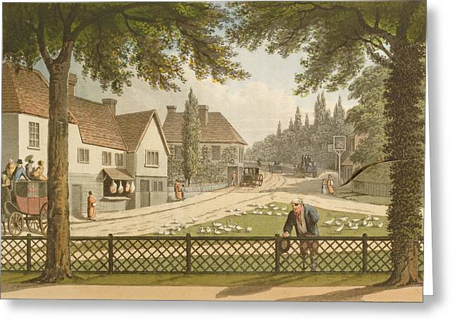 Fence Drawings Greeting Cards - View From My Own Cottage In Essex Greeting Card by Humphry Repton