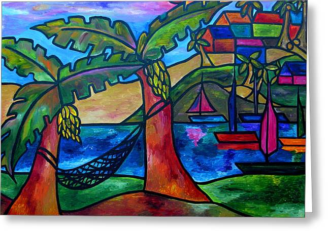Tropical Beach Paintings Greeting Cards - View from my villa Greeting Card by Patti Schermerhorn
